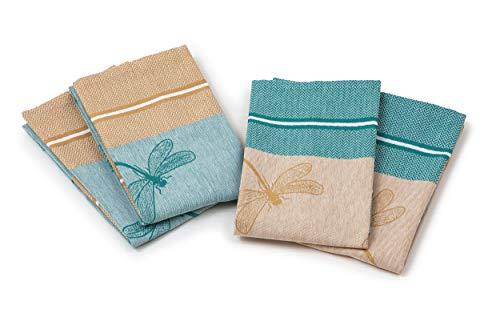 myHomery Geschirrhandtücher mit modernen Motiven im praktischen 4er Set aus 100% Baumwolle Libelle Set - Petrol | 4er-Set - 50 x 70 cm