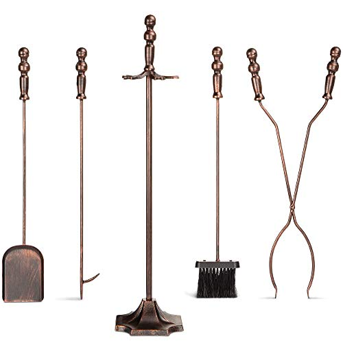 Best Choice Products 5-Piece Rustic Indoor Outdoor Fireplace Hearth Wrought Iron Fire Wood Tool Set w/Tongs, Poker, Broom, Shovel, Stand - Antique Bronze