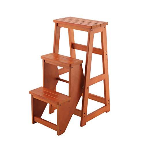 DNSJB - Taburete plegable de madera maciza, 3 pasos, multifunción, para la entrada, para la biblioteca, 58 x 36 x 77 cm (color: B)