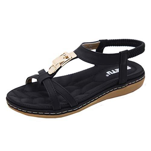 VJGOAL Damen Sandalen, Frauen Mädchen böhmischen Mode Flache beiläufige Sandalen Strand Sommer Flache Schuhe Frau Geschenk (41 EU, X-schwarz)