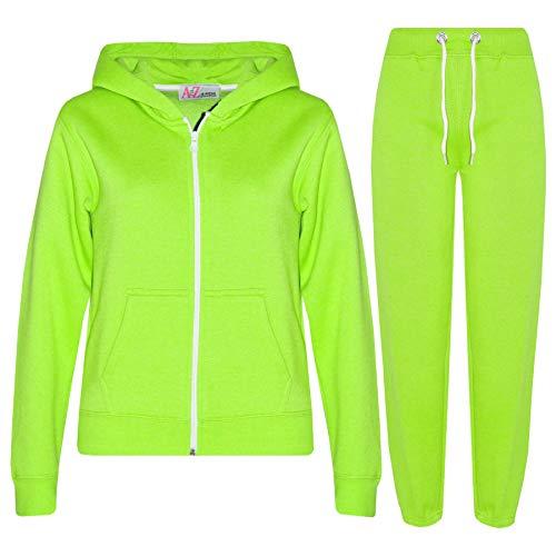 A2Z 4 Kids® Kinder Mädchen Jungen einfarbig Trainingsanzug Kapuzenpullover - T.S Plain Neon Green 2-3