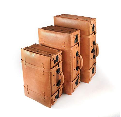 Juego de 3 Maletas de Cuero Rígidas Vintage para Viaje o decoración | Franquihogar (Juego de 3 Maletas)