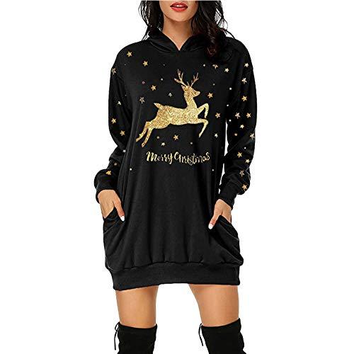 Darringls Femme Robe Sweat à Capuche Manches Longues Noë Renne Impression Pull de Noel Femme Automne Printemps Décontractée Col Rond Blouses de Noël Casual Shirt Hauts