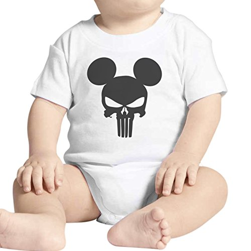 Body bebé Fashion The Punisher Mickey Skull Calavera–Blanco Blanco Bianco