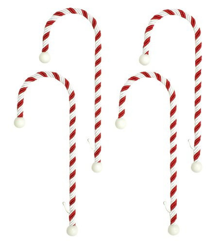 Haute Decor CC0402R Candy Cane Stocking Holder, 4-Pack, Classic Red and White