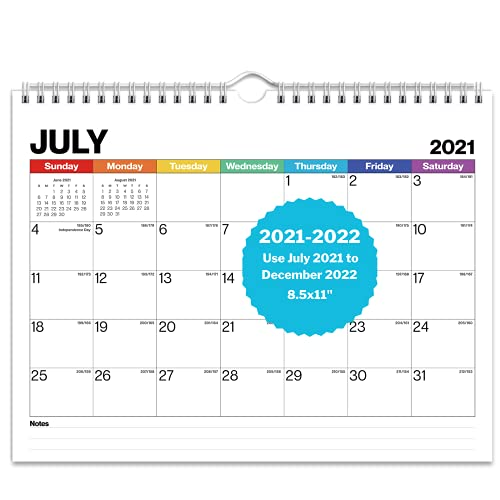 Dunwell Small Wall Calendar 2022 - (Colorful), Use 8.5x11 Wall Calendar from July 2021 to December 2022, Small Calendar 2021-2022, Monthly 2022 Calendar, Spiral Bound Flip Calendar 2022