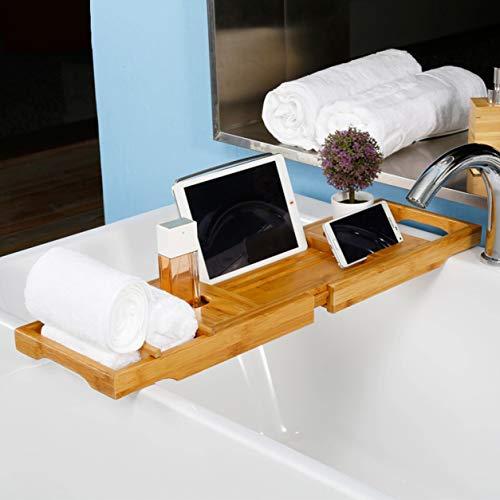 Bamboe badkuip Caddy vak voor badkuip, uitbreidbaar badkuip rek houdt boek wijnglas handdoek Ipad telefoon eten tablet zeep badkamer spa