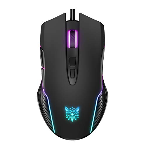 ONIKUMA RGB Gaming Mouse Wired, USB Optical Computer Mice with RGB Backlit, 6 Adjustable DPI Up to 6400, Ergonomic Gamer Laptop PC Mouse with 7 Programmable Buttons for Windo Vista Linux (Black)