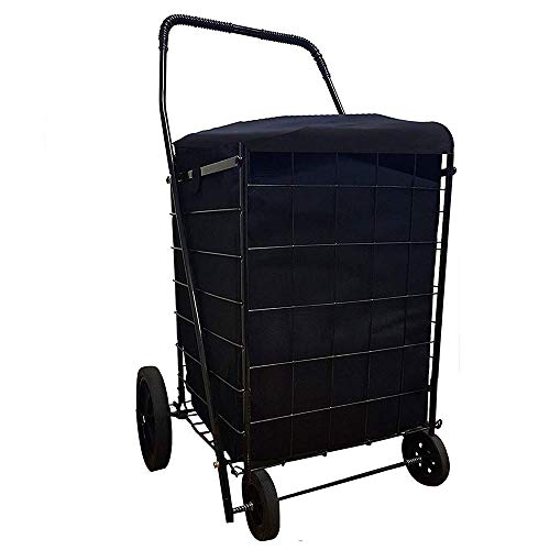 Folding SHOPPING CART LINER insert WATER PROOF with cover in 3 Color (Liner Only) (Black)