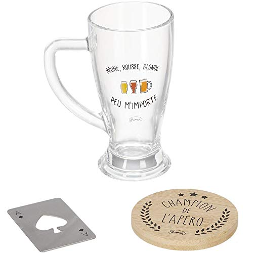 Le Fabuleux Shaman 40-2X-005 Coffret bière Champion de l'apéro Brune rousse blonde Peu m'importe Chope Dessous de verre Décapsuleur Transparent beige et gris Verre bois et métal H8,5 x 18 x 23,5 cm