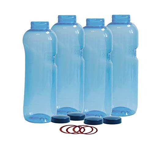 4 x Original Kavodrink Trinkflaschen aus TRITAN 100% ohne Weichmacher im CO2-Sparset: 4 x 1,0 Liter (rund) + 4 Standarddeckel + 4 Silikon-Dichtringe