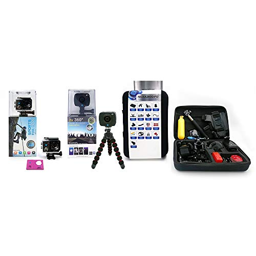 Pack 3 - NK-AC3056-FDR Cámara acción Alta definición FHD 1080P (Color) + NK AC3091-36D - Cámara Deportiva 360º + Kit de Accesorios para cámaras de acción.