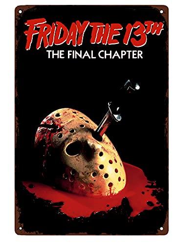 NGHF Cartel clásico de la película de terror del viernes el 13º cartel de hojalata retro vintage de 20 x 30 cm