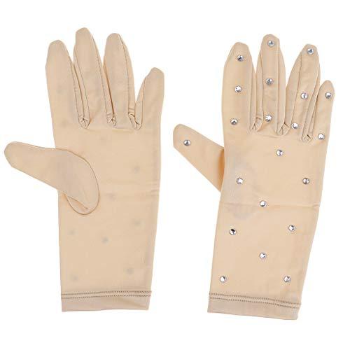 Baoblaze Elastische Mädchen Handschuhe Mit Strasssteinen Für Eiskunstlauf Wettbewerb - Hautfarbe, S