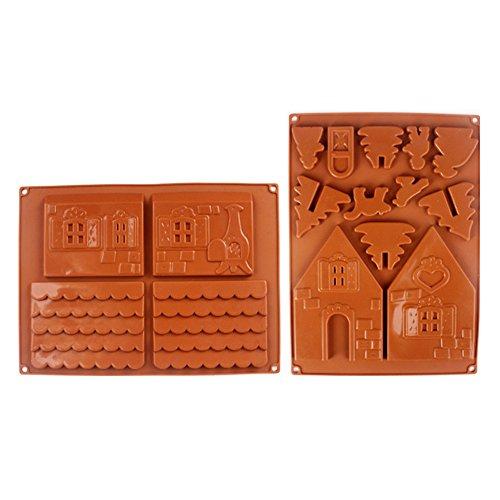 Rokoo - Set da 2 pezzi di stampi in silicone per casetta natalizia di pan di zenzero in 3D, adatto anche per torte al cioccolato