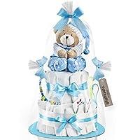 Timfanie® Windeltorte | Spieluhr (2-stöckig/baby-blau) | Windeln Gr. 2 | mit Gravur