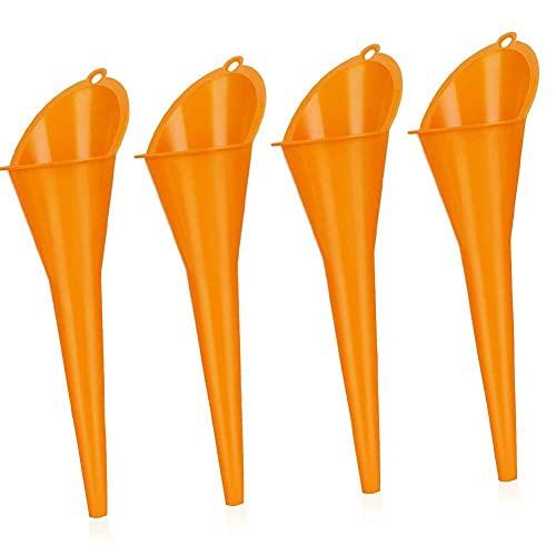 Tuimiyisou Kit de Embudo de plástico portátil Coche del reaprovisionamiento Gasolina Largo de la Boca del Embudo multifunción Cambio de Aceite Herramienta para la Motocicleta 4pcs Orange