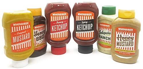 Whataburger Ultimate Variety Sauce and Condiment Pack - Ketchup, Mustard, BBQ Sauce, Jalapeno Ranch - 6-Pack Deal