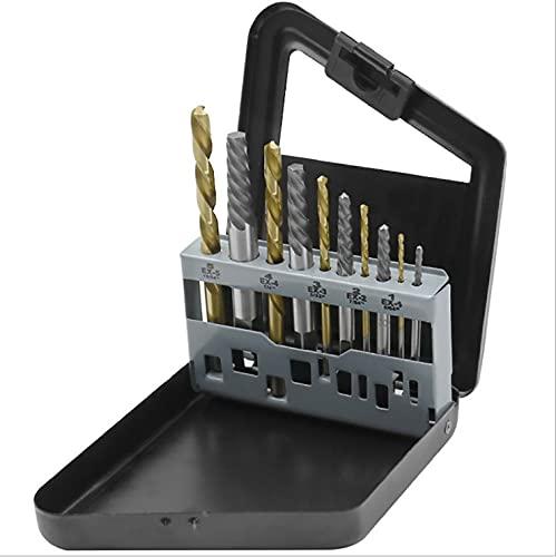 Brynnl Juego de 10 extractores de tornillos y brocas de mano izquierda, extractores de pernos fáciles de sacar con caja de índice de metal, juego de herramientas de brocas
