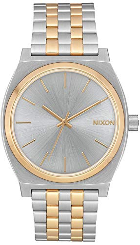 NIXON Time Teller A045 - Silver/Gold - 100m Water Resistant Men's Analog Fashion Watch (37mm Watch Face, 19.5mm-18mm Stainless Steel Band)