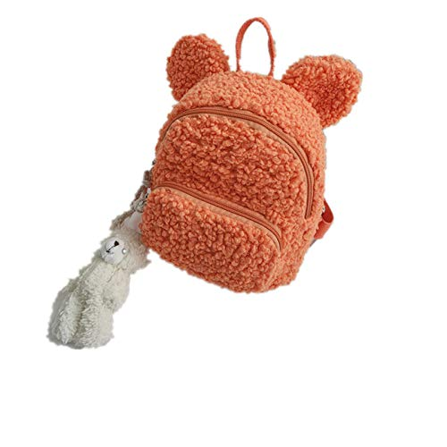 Zaino coreano peluche borsa a tracolla semplice peluche coniglio borsa a spalla marea ragazza borsa Orso orecchio-arancio 19*13*19CM