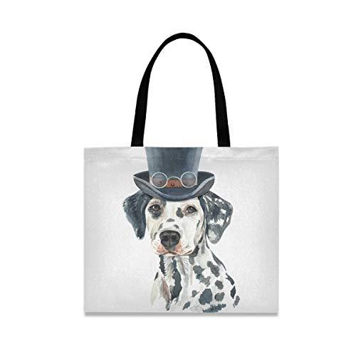 Bolsa de lona para perro dálmata de acuarela para mujer grande reutilizable bolsas de comestibles con bolsillo interior bolso de compras para gimnasio, playa, viajes al aire libre