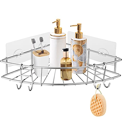 Adhesive Corner Bathroom Shelf, Shower Wall Caddy Organizer, Shower Shelf Rack with Removable Hooks for Bathroom, Washroom, Kitchen, Stainless Steel No Drilling,Silver