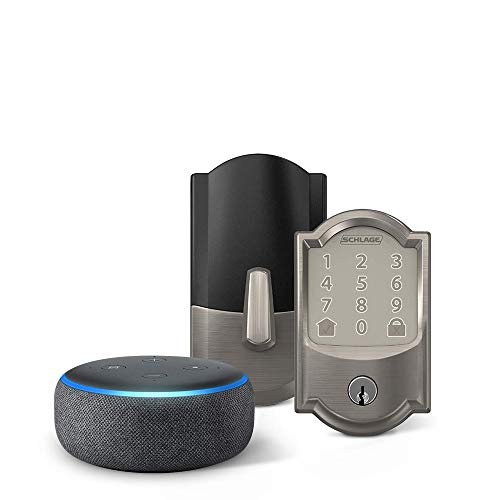 Schlage Encode Smart WiFi Deadbolt with Camelot Trim In Satin Nickel and Echo Dot (3rd Gen), Charcoal - Items Ship Separately
