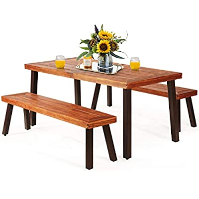 Giantex Patio Dining Table Set with 2 Benches, Outdoor Picnic Table Set with Umbrella Hole, Acacia Wood Patio Seating and Rectangular Table for Backyard, Garden, Lawn (Rustic Brown)