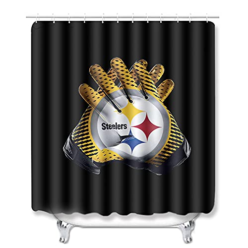 AIGDIX Steelers Shower Curtain,Waterproof Polyester Fabric,Bathroom Decorations Shower Curtain Sets 60x72 Inch with 12 Hooks
