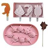 Moldes para helado de silicona con tapa antiderrame. Silicona antiadherente, de grado alimenticio sin BPA. Fácil desmoldado. Paleta de helados con palos de recambio incluidos. Helados y piruletas