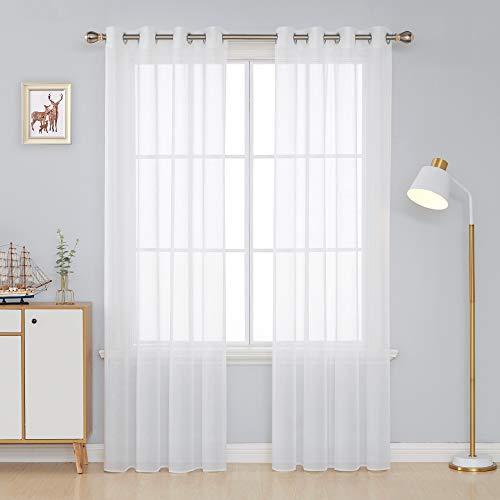 Deconovo Tende Camera da Letto e Soggiorno Moderne 2 Pezzi Trasparenti in Voile per Casa Finestre Interni 140x290 CM Bianco