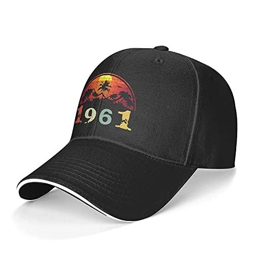 Vintage 1961 Sun Hat Adjustable Sandwich Cap Unisex Classic Baseball Cap Outdoor Sun Visor Cap Trucker Hat Black