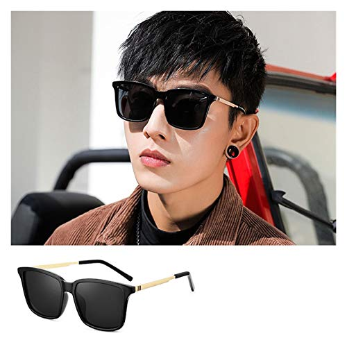 SSN Gafas De Sol para Hombres Gafas De Sol Conducción Insulte Súper Fuego Femenino Anti-Ultravioleta Cara Redonda Cara Grande Era Delgada (Color : B)