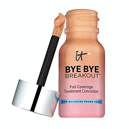 of it cosmetics concealers IT Cosmetics Bye Bye Breakout Concealer, Tan (W) - Drying Lotion + Full-Coverage Treatment Concealer - Covers Blemishes, Acne, Redness & Discoloration - With Hydrolyzed Collagen - 0.35 fl oz