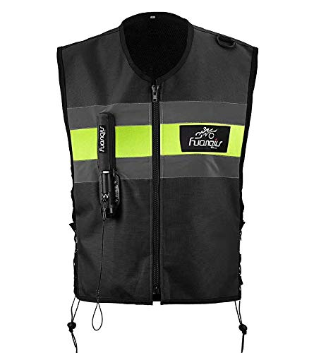 Motorcycle zipper Air-bag Vest Moto Racing Professional Advanced Air Bag system motocross protective airbag (BLACK, L)