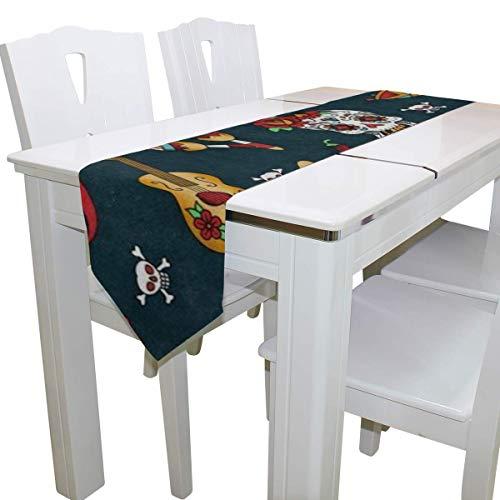 N/A Eettafel Runner Of Dresser Sjaal, Mexicaanse Suiker Schedel Gitaar Peper Vintage Deck Tafelkleed Runner Koffie Mat voor Bruiloft Partij Banket Decoratie 13x90IN