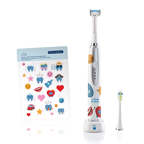 Triple Bristle Best Kids Sonic Toothbrush | Rechargeable 31,000 VPM Tooth Brush | Patented 3 Brush Head Design | Angled Bristles Clean Each Tooth | Dentist Created & Approved | Sonic Toothbrush 1 Pack