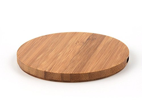 QI Holz Ladestation; Kompatibel mit Android sowie iPhone XS, XS Max, XR, X ( 10 ) 8, 8plus, kontaktloses Laden, Holz Qi Charger, Ladestation - Alle Geräte mit QI Ladefähigkeit Bambus Rund