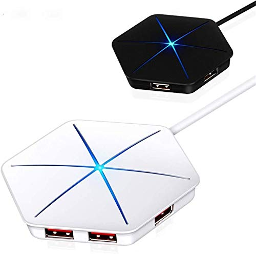 YYANG Concentrador USB 3.0 6 Puerto con Led Decorativo, Adaptador De Hub USB De Extensión De Alta Velocidad, Cable De Extensión De Plomo Divisor para Tablet Portátil De Computadora Netbook Impresora