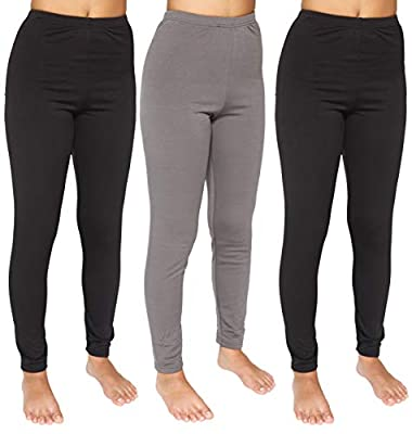 3-Pack: Womens Thermal Underwear Pants Set Fleece Lined Leggings Warm Compression Tights Base Layer Essential Workout Clothing - Set 2, XL from