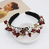 Diadema de diamantes de imitación barroca con piedras preciosas para mujeres Elegante terciopelo Señoras de cristal Perlas Diademas para niñas Accesorios para el cabello-6 6