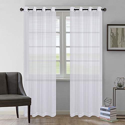 Rose Home Fashion Vorhang Transparent Weiß mit Ösen, 2 Stücke Voile Gardinen aus Terylen Ösenschal für Wohnzimmer Schlafzimmer 245 x 140 cm (H x B), Weiß