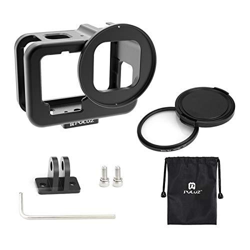 Flycoo2 - Marco de metal para GoPro Hero 10/9, color negro, UV, filtro 52 mm, 1/4 tornillo adaptador 2 Cold Shoes Expanion Kit