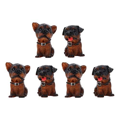 Toddmomy 6 Piezas de Resina en Miniatura Juguetes para Perros Figuras Perritos Playset Cachorro Artesanía de Resina para Regalo de Cumpleaños Casa de Muñecas Jardín de Hadas Decoración del