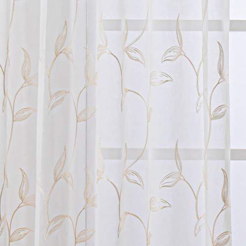 VISIONTEX White Sheer Voile Curtains, Decorative Cream Vine Leaves Embroidery Faux Linen Rod Pocket Window Drapes for Home Kitchen, Living Room and Bedroom 54 x 72 Inch, Set of 2 Curtain Panels