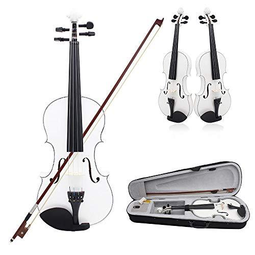 SUNXK Die neuen Schwarz-Weiß-Licht Universal-gängige Praxis Violine Holz for Erwachsene Musikinstrumente (Color : Black White, Size : 4/4)