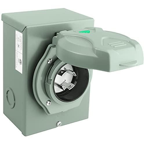 EXCELFU 30 Amp Generator Power Inlet Box, NEMA 3R Power Inlet Box for 4 Prong Generator Cord, NEMA L14-30P 125/250 Volt Generator Inlet Box, 7500 Watts, ETL Listed, Weatherproof Outdoor Use