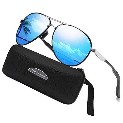 Gafas de sol polarizadas para hombre mujere metal Marco grande/Ciclismo Golf Conducción Pesca Escalada Verano Deportes al aire libre moda Gafas de sol (blue)