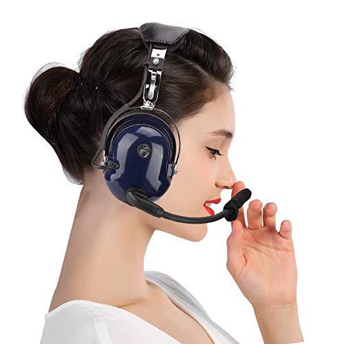 Aviation Pilot Headset, General Aviation Headset, Pilotenkopfhörer mit Zwei Steckern, 3,5-mm-Rauschunterdrückungs-Headset für Piloten (Rauschunterdrückungs-Gehörschutz, winddichter Schaum)